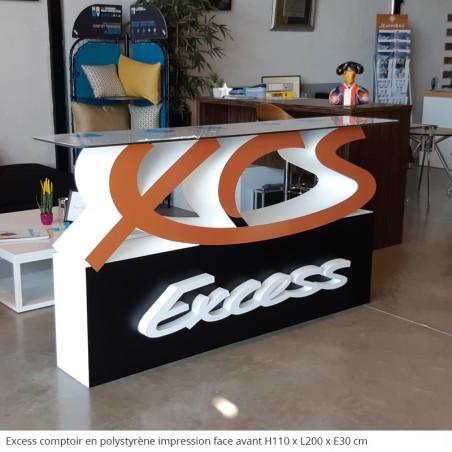 XCS Excess Tables et comptoirs en polystyrène pour stand salon entreprise accueil, plateau en plexiglas