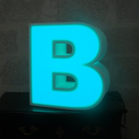 Lettres en polystyrène lumineuses led turquoise rbv multicolore