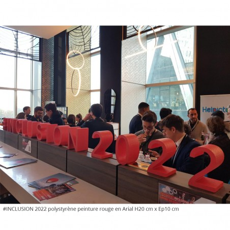 Lettres en polystyrène #INCLUSION2022 conférence évènement professionnel