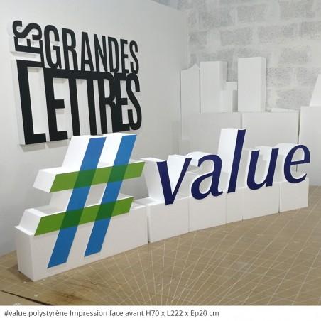 #value Logo posé au sol, lettres et mots en polystyrène géant évènementiel lettres séparés