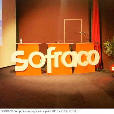 Sofraco Tables et comptoirs en polystyrène évènement professionnel entreprise séminaire présentation, plateau en plexiglas