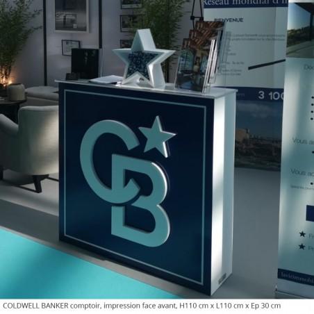 COLDWELL BANKER Tables et comptoirs en polystyrène évènement professionnel salon de l'immobilier