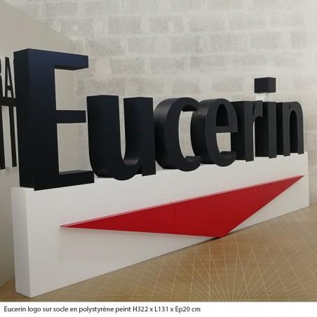 Eucerin logo polystyrène géant peinture entreprise évènement professionnel fête