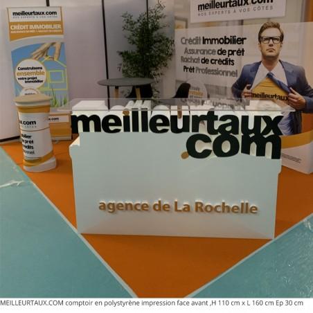 MEILLEURTAUX.COM Tables et comptoirs en polystyrène évènement professionnel salon de l'immobilier