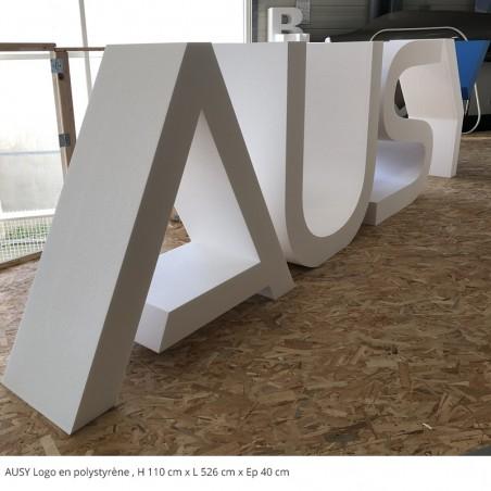 AUSY logo en polystyrène expo derrière fenêtres
