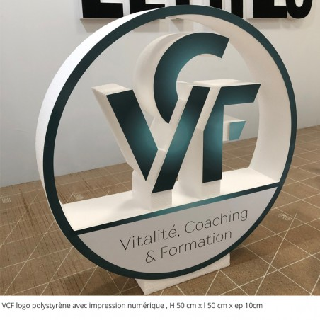 logo VCF polystyrene + impression num