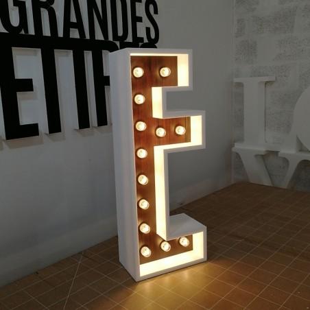 Lettres vintage lumineuse ampoule décoration ambiance rétro en polystyrène
