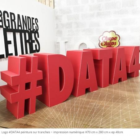 logo #data4 peinture + impression numérique rouge charte graphique respectée