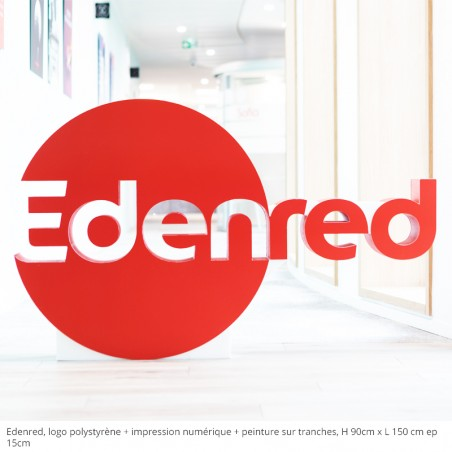 Edenred logo polystyrène impression numérique + peinture