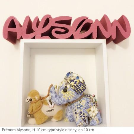 prénom enfant Alysonn, peinture sur toutes les faces