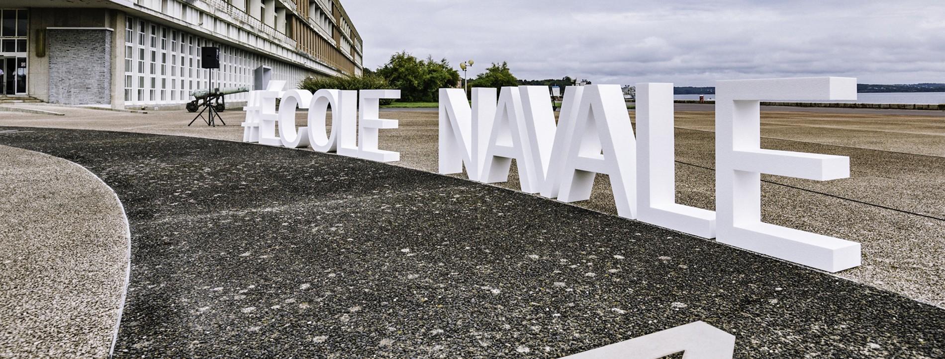 #ÉCOLE NAVALE, LETTRES EN POLYSTYRENE BLANC BRUT H 100 cm L 950 cm EP 25cm , Ecole Navale de Brest