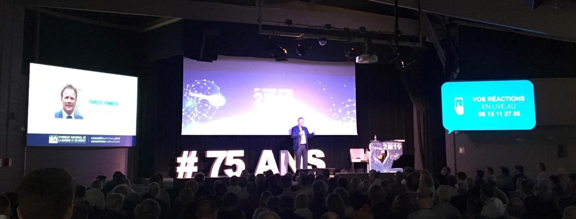 Lettres et comptoirs en géants en polystyrène 29ème Congrès du SNB 75 ans anniversaire fête conférence évènement professionnel discours